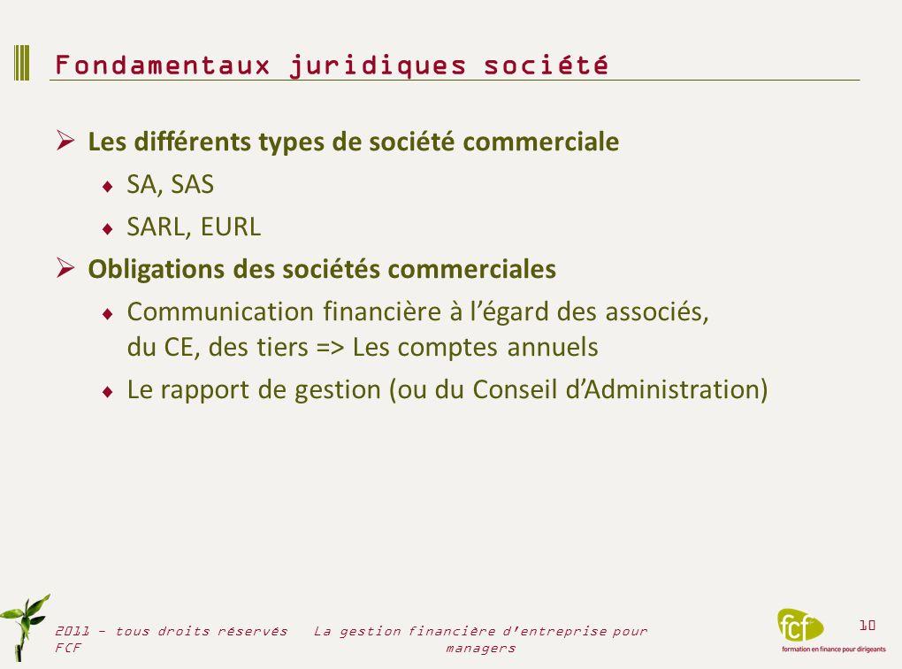 Les différents types de société commerciale SA, SAS SARL, EURL Obligations des sociétés commerciales Communication financière à légard des associés, d