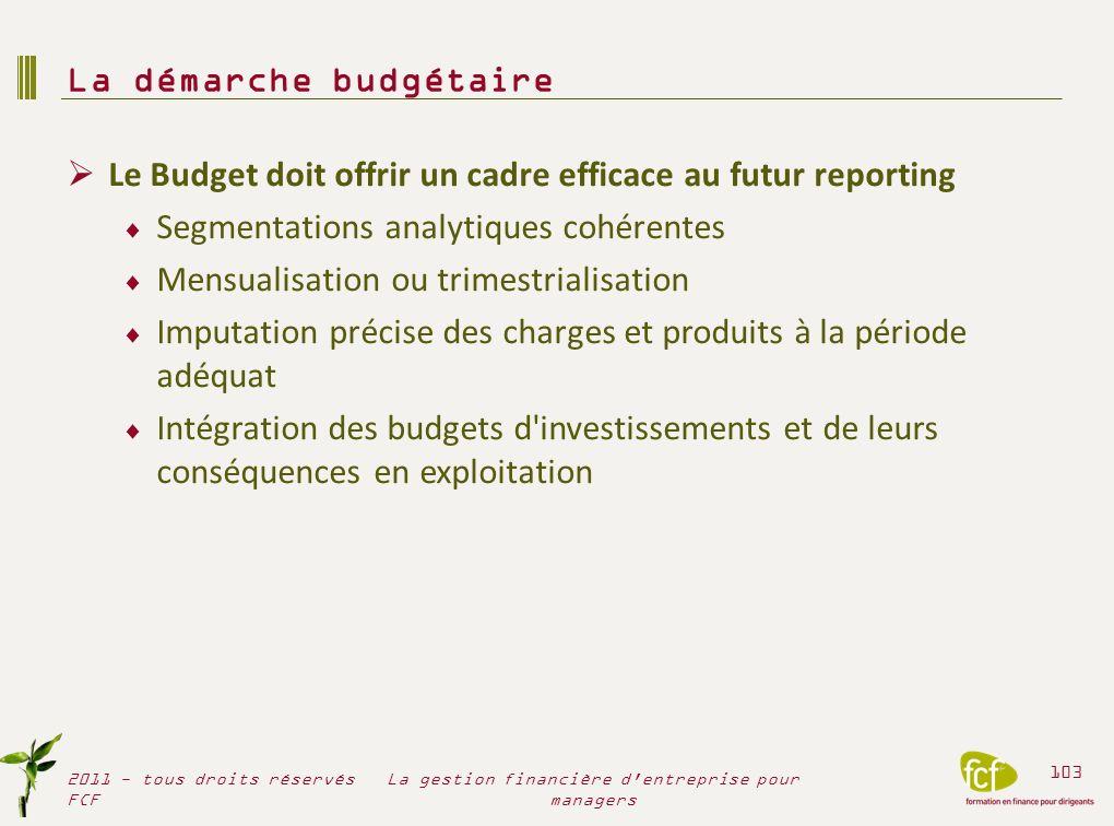 Le Budget doit offrir un cadre efficace au futur reporting Segmentations analytiques cohérentes Mensualisation ou trimestrialisation Imputation précis