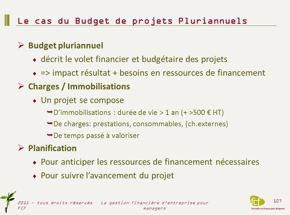Budget pluriannuel décrit le volet financier et budgétaire des projets => impact résultat + besoins en ressources de financement Charges / Immobilisat