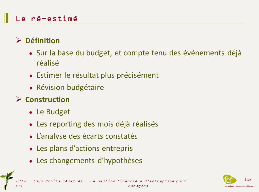 Définition Sur la base du budget, et compte tenu des événements déjà réalisé Estimer le résultat plus précisément Révision budgétaire Construction Le