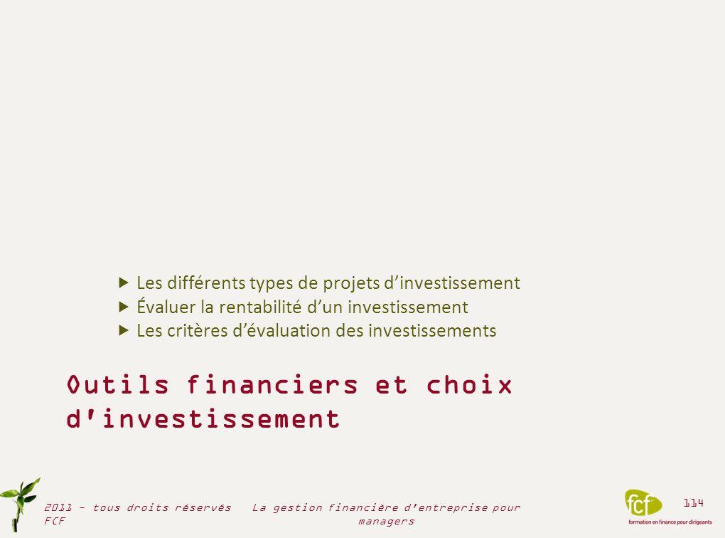 Outils financiers et choix d'investissement Les différents types de projets dinvestissement Évaluer la rentabilité dun investissement Les critères dév