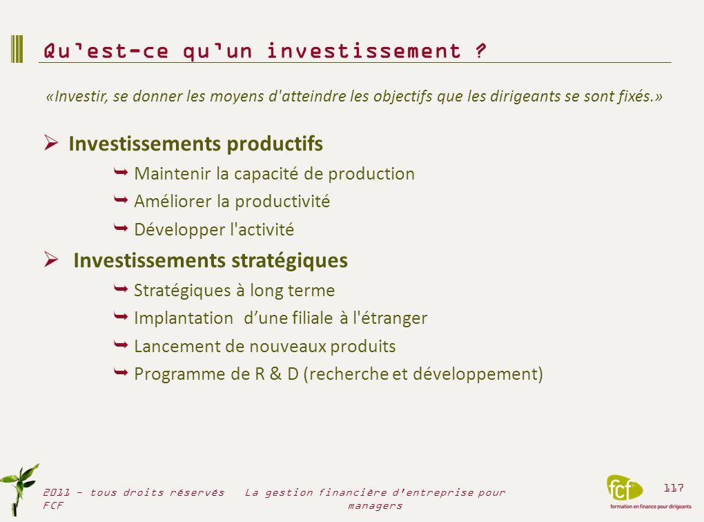 Investissements productifs Maintenir la capacité de production Améliorer la productivité Développer l'activité Investissements stratégiques Stratégiqu