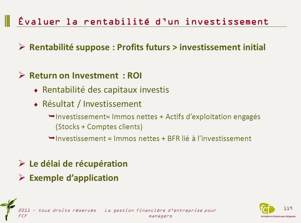 Rentabilité suppose : Profits futurs > investissement initial Return on Investment : ROI Rentabilité des capitaux investis Résultat / Investissement I