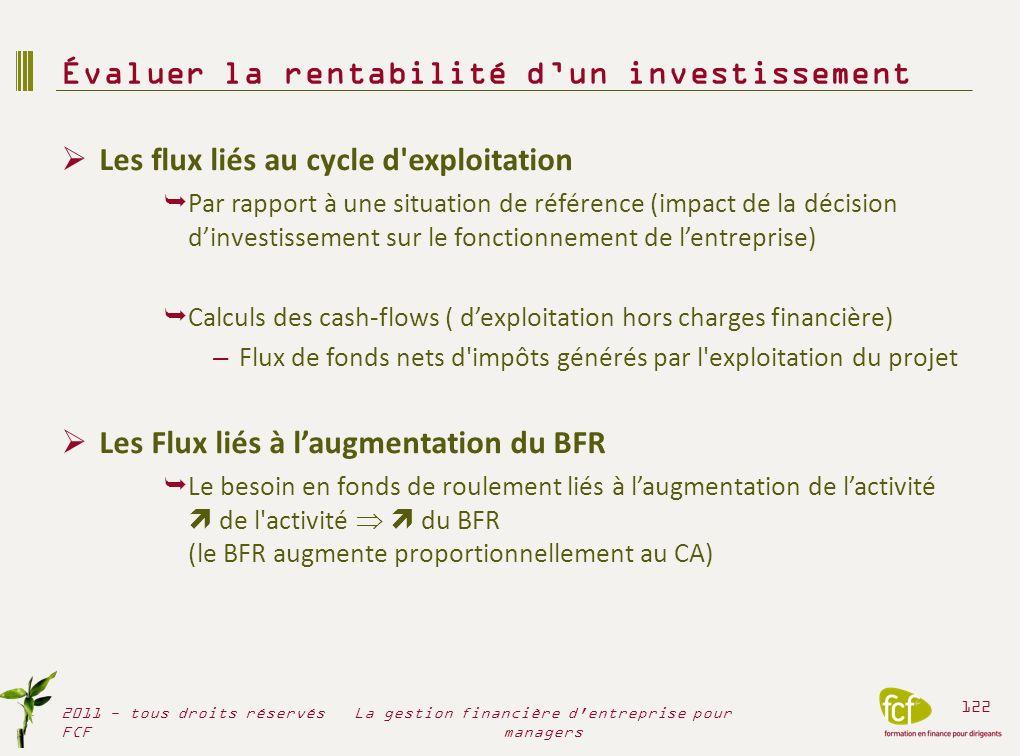 Les flux liés au cycle d'exploitation Par rapport à une situation de référence (impact de la décision dinvestissement sur le fonctionnement de lentrep