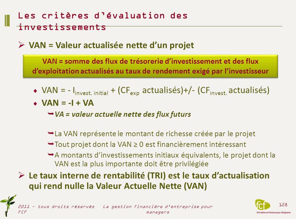 VAN = Valeur actualisée nette dun projet VAN = - I invest. initial + (CF exp actualisés)+/- (CF invest. actualisés) VAN = -I + VA VA = valeur actuelle