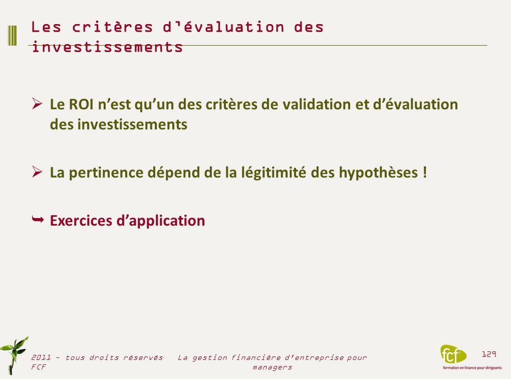 Le ROI nest quun des critères de validation et dévaluation des investissements La pertinence dépend de la légitimité des hypothèses ! Exercices dappli