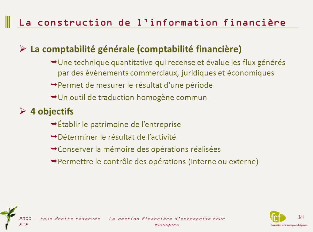 La comptabilité générale (comptabilité financière) Une technique quantitative qui recense et évalue les flux générés par des évènements commerciaux, j