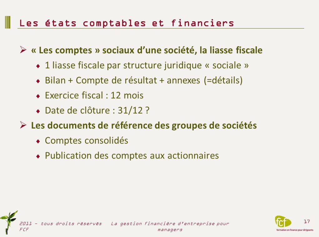 « Les comptes » sociaux dune société, la liasse fiscale 1 liasse fiscale par structure juridique « sociale » Bilan + Compte de résultat + annexes (=dé