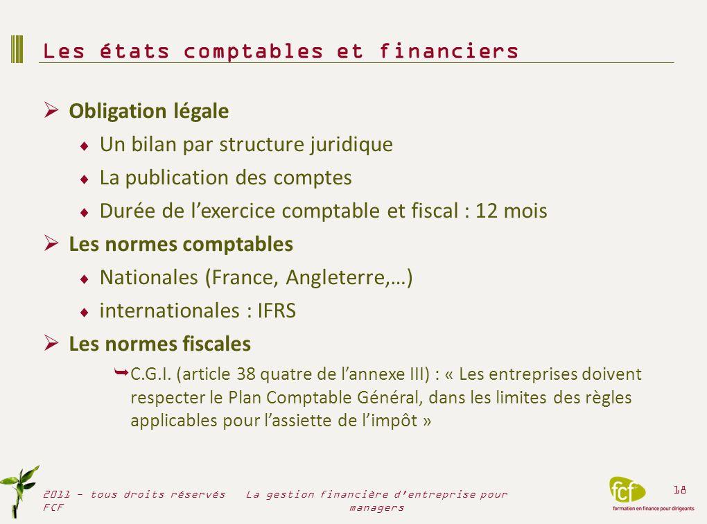 Obligation légale Un bilan par structure juridique La publication des comptes Durée de lexercice comptable et fiscal : 12 mois Les normes comptables N