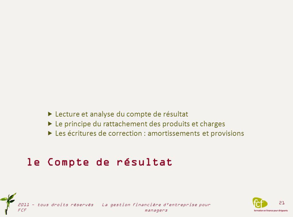 le Compte de résultat Lecture et analyse du compte de résultat Le principe du rattachement des produits et charges Les écritures de correction : amort