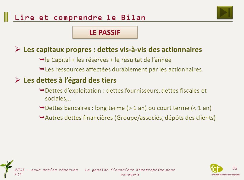 Les capitaux propres : dettes vis-à-vis des actionnaires le Capital + les réserves + le résultat de lannée Les ressources affectées durablement par le