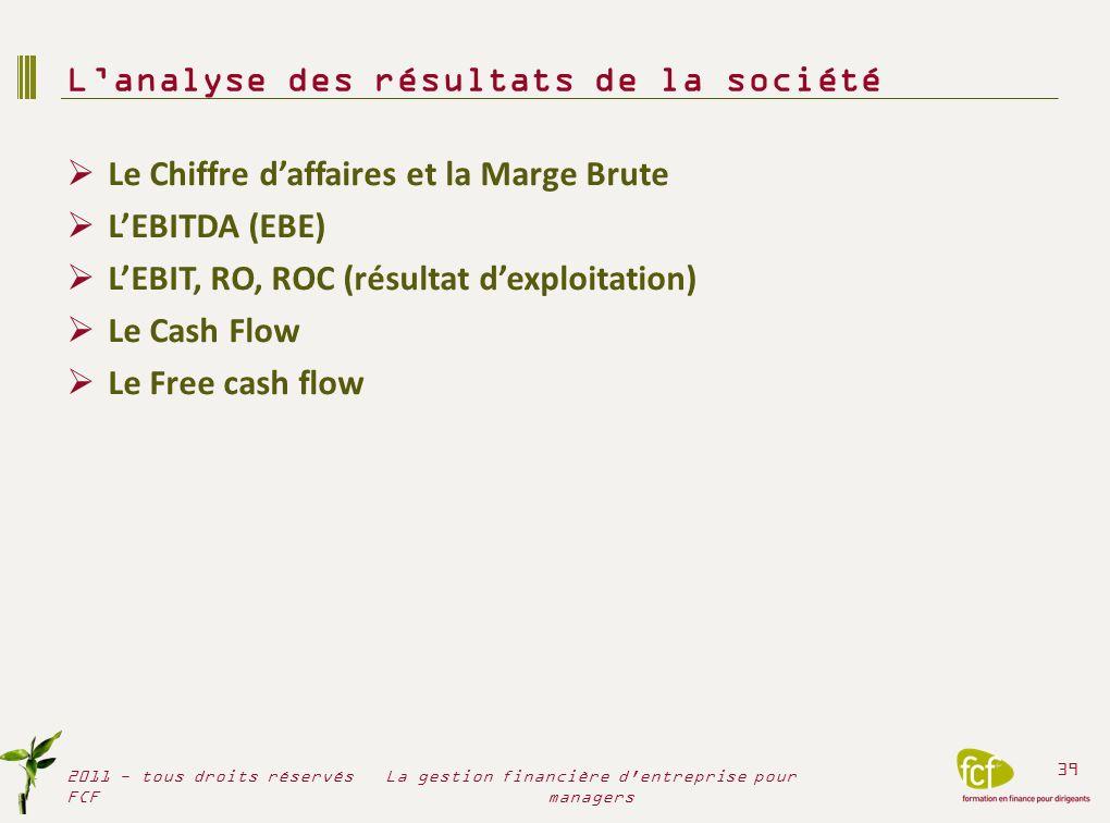 Le Chiffre daffaires et la Marge Brute LEBITDA (EBE) LEBIT, RO, ROC (résultat dexploitation) Le Cash Flow Le Free cash flow Lanalyse des résultats de