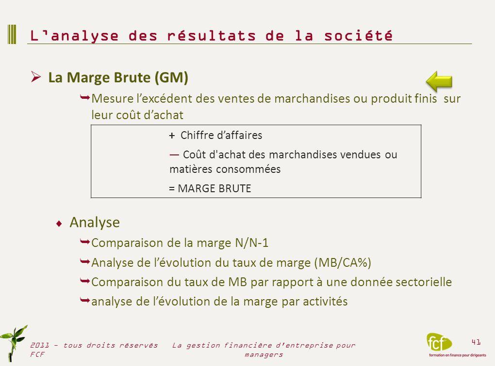 La Marge Brute (GM) Mesure lexcédent des ventes de marchandises ou produit finis sur leur coût dachat Analyse Comparaison de la marge N/N-1 Analyse de