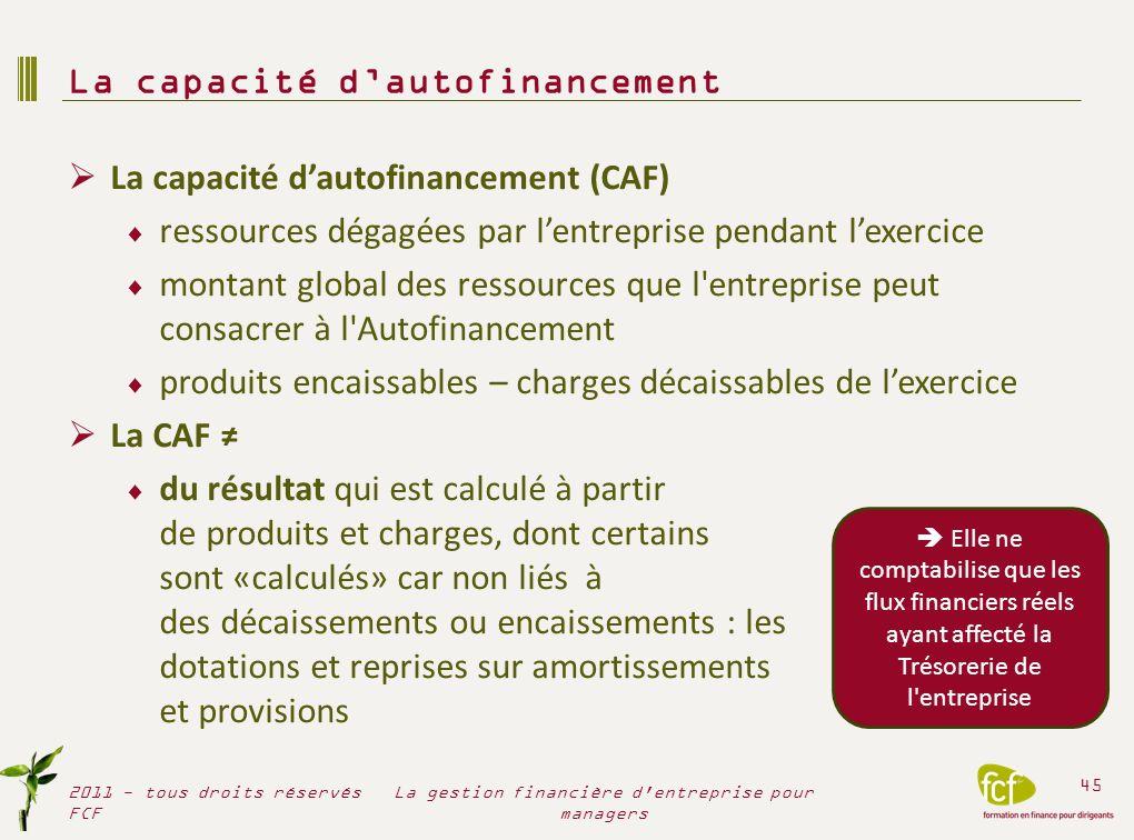 La capacité dautofinancement (CAF) ressources dégagées par lentreprise pendant lexercice montant global des ressources que l'entreprise peut consacrer