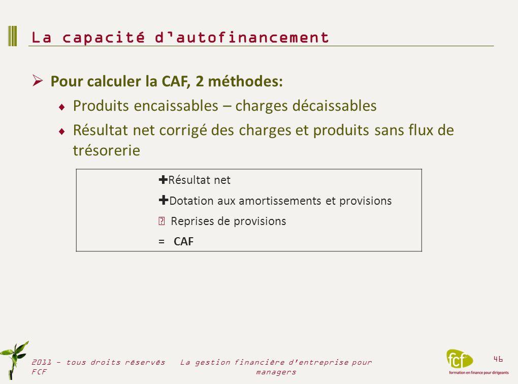 Pour calculer la CAF, 2 méthodes: Produits encaissables – charges décaissables Résultat net corrigé des charges et produits sans flux de trésorerie La