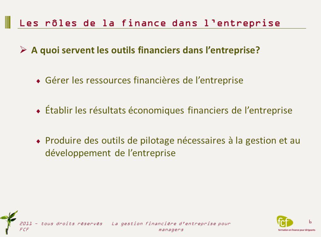 A quoi servent les outils financiers dans lentreprise? Gérer les ressources financières de lentreprise Établir les résultats économiques financiers de