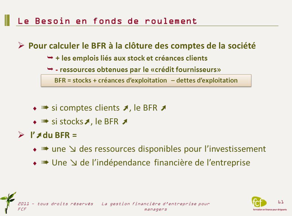Pour calculer le BFR à la clôture des comptes de la société + les emplois liés aux stock et créances clients - ressources obtenues par le «crédit four