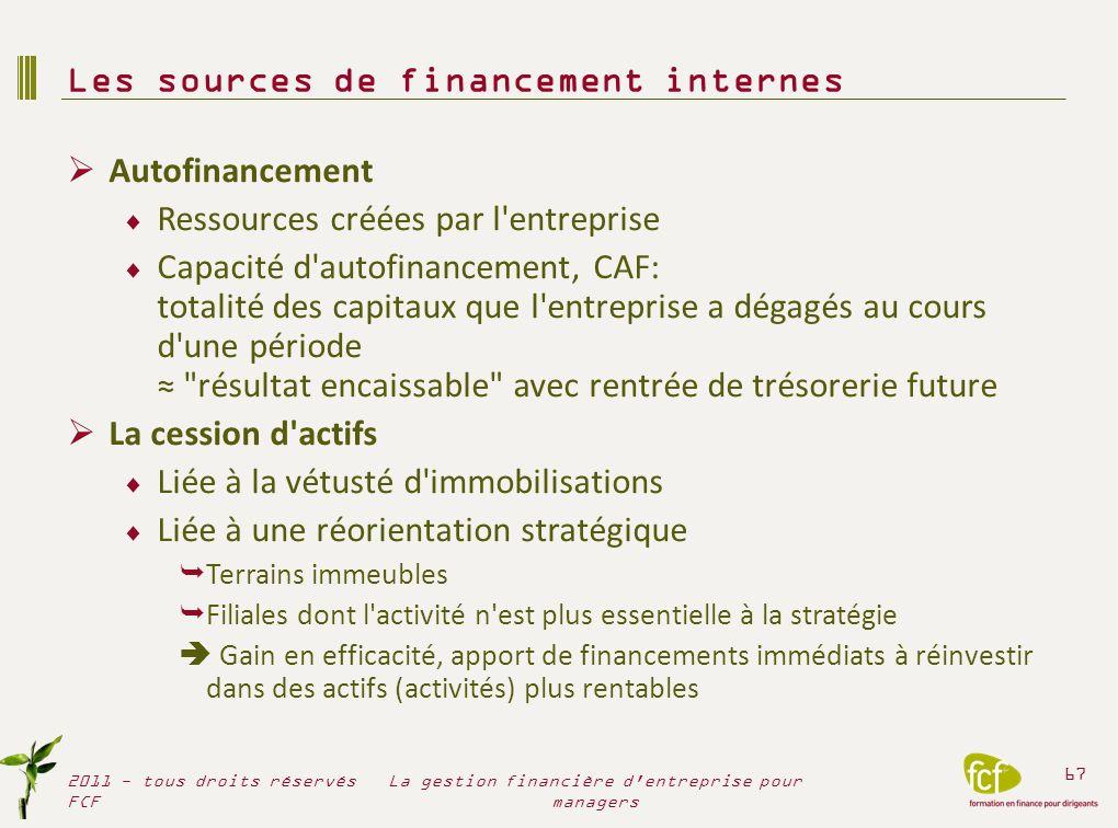 Autofinancement Ressources créées par l'entreprise Capacité d'autofinancement, CAF: totalité des capitaux que l'entreprise a dégagés au cours d'une pé