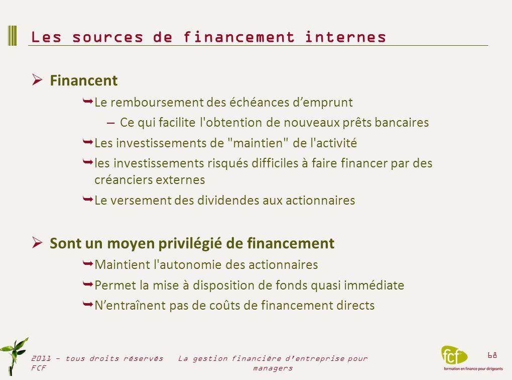 Financent Le remboursement des échéances demprunt – Ce qui facilite l'obtention de nouveaux prêts bancaires Les investissements de