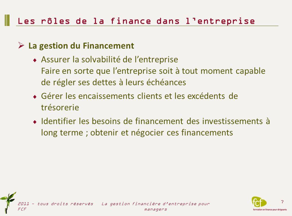 La gestion du Financement Assurer la solvabilité de lentreprise Faire en sorte que lentreprise soit à tout moment capable de régler ses dettes à leurs