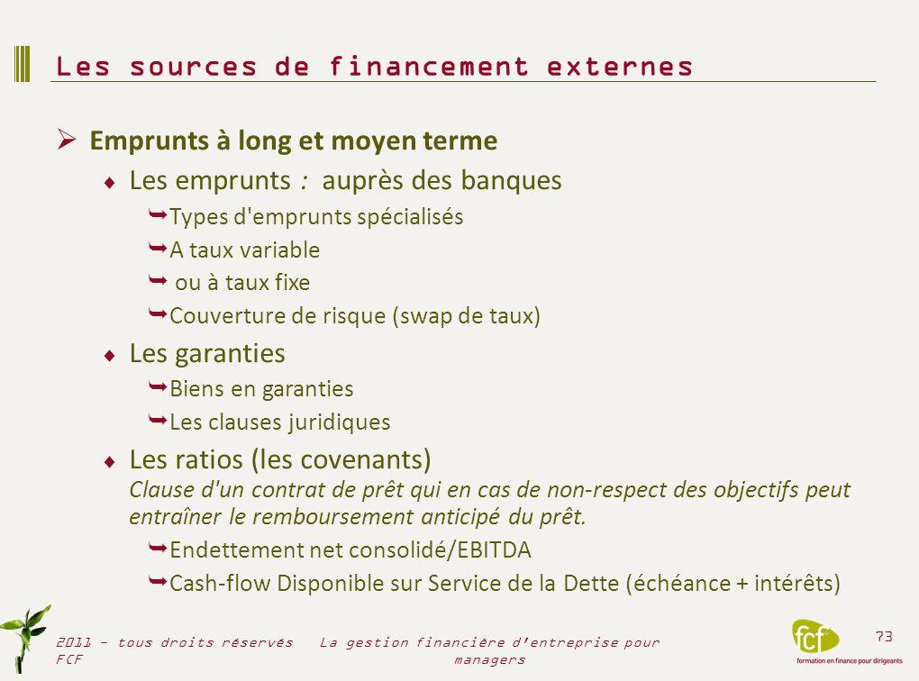 Emprunts à long et moyen terme Les emprunts : auprès des banques Types d'emprunts spécialisés A taux variable ou à taux fixe Couverture de risque (swa