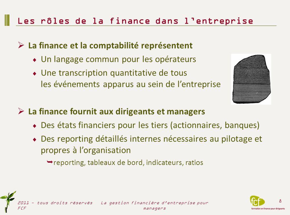La finance et la comptabilité représentent Un langage commun pour les opérateurs Une transcription quantitative de tous les événements apparus au sein