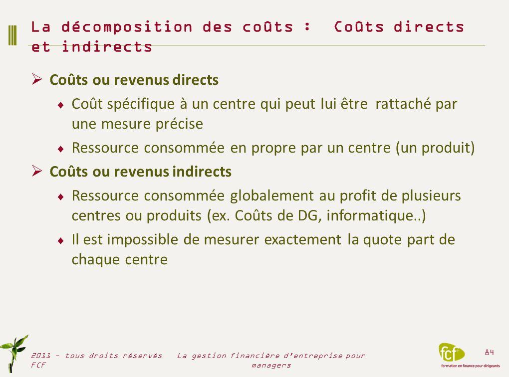 Coûts ou revenus directs Coût spécifique à un centre qui peut lui être rattaché par une mesure précise Ressource consommée en propre par un centre (un