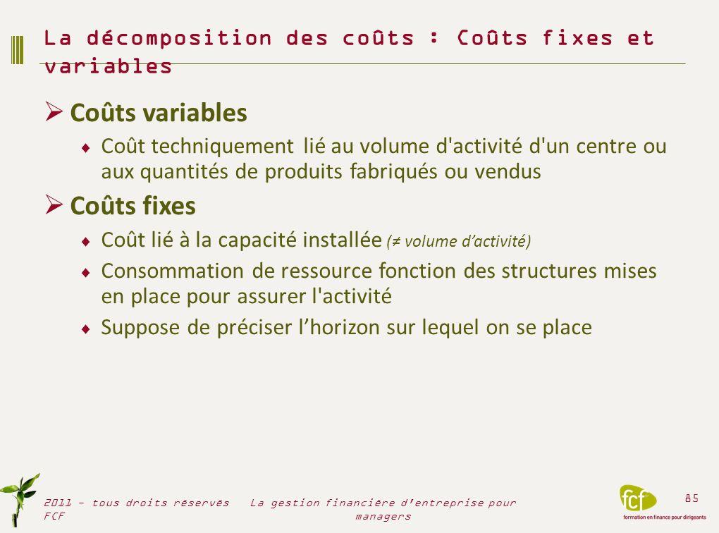 Coûts variables Coût techniquement lié au volume d'activité d'un centre ou aux quantités de produits fabriqués ou vendus Coûts fixes Coût lié à la cap