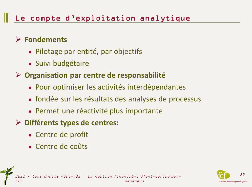Fondements Pilotage par entité, par objectifs Suivi budgétaire Organisation par centre de responsabilité Pour optimiser les activités interdépendantes