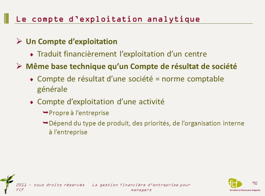 Un Compte dexploitation Traduit financièrement lexploitation dun centre Même base technique quun Compte de résultat de société Compte de résultat dune