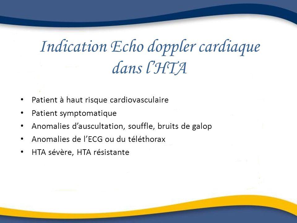 Indication Echo doppler cardiaque dans lHTA Patient à haut risque cardiovasculaire Patient symptomatique Anomalies dauscultation, souffle, bruits de g