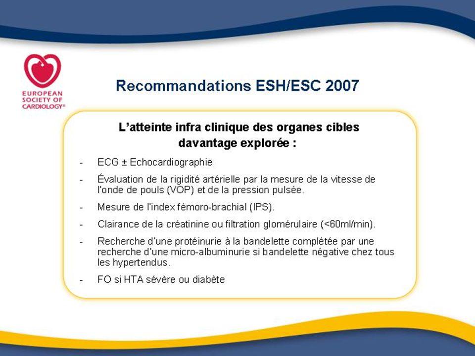 Sujets à très haut risque selon ESH/ESC 2007