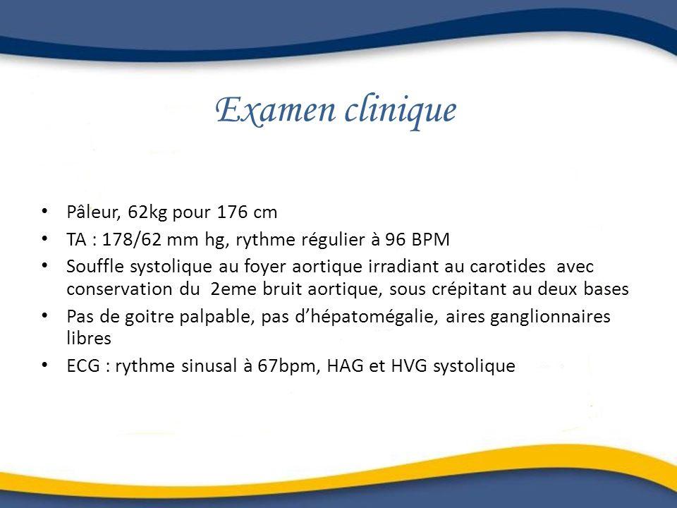 Examen clinique Pâleur, 62kg pour 176 cm TA : 178/62 mm hg, rythme régulier à 96 BPM Souffle systolique au foyer aortique irradiant au carotides avec