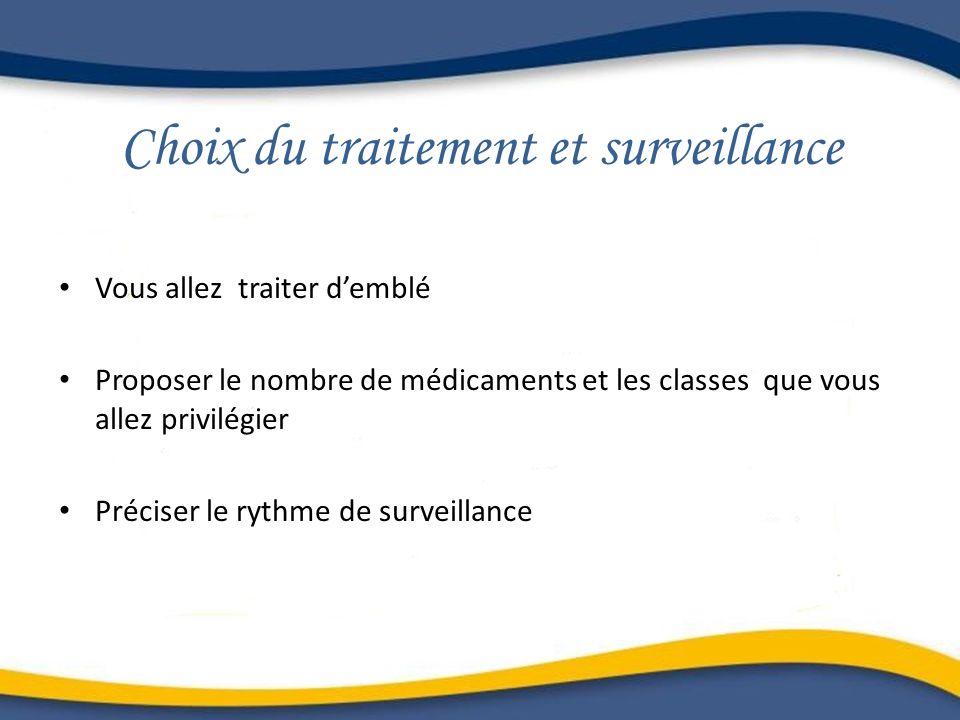 Choix du traitement et surveillance Vous allez traiter demblé Proposer le nombre de médicaments et les classes que vous allez privilégier Préciser le