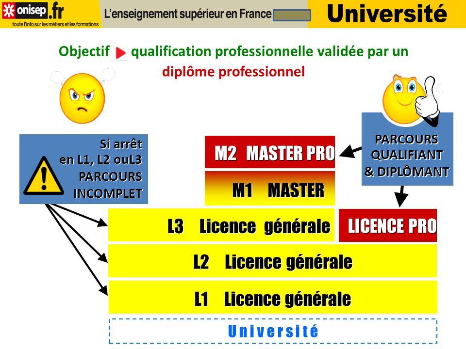 Doctorat Master Licence généraleLicence Pro Objectif qualification professionnelle validée par un diplôme professionnel LICENCE PROFESSIONNELLE DIPLÔME PROFESSIONNEL MASTER PROFESSIONNEL DIPLÔME PROFESSIONNEL BAC+5 BAC+3