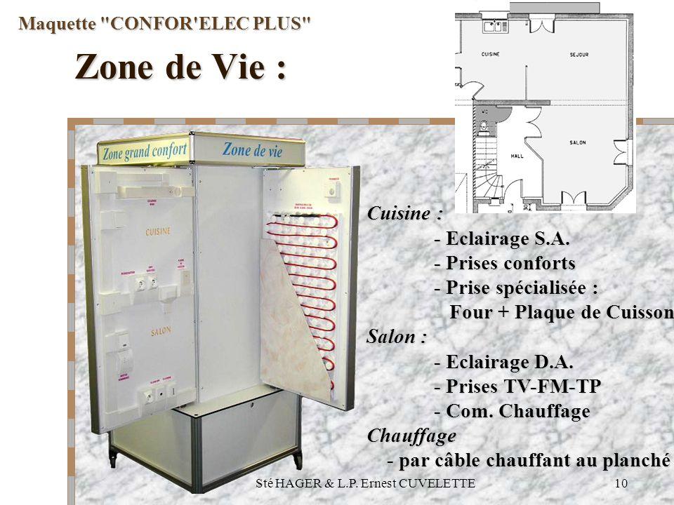 Sté HAGER & L.P.Ernest CUVELETTE10 Maquette CONFOR ELEC PLUS Cuisine : - Eclairage S.A.