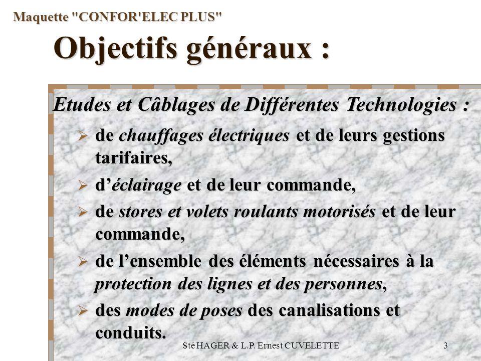 Sté HAGER & L.P. Ernest CUVELETTE3 Objectifs généraux : de chauffages électriques et de leurs gestions tarifaires, de chauffages électriques et de leu