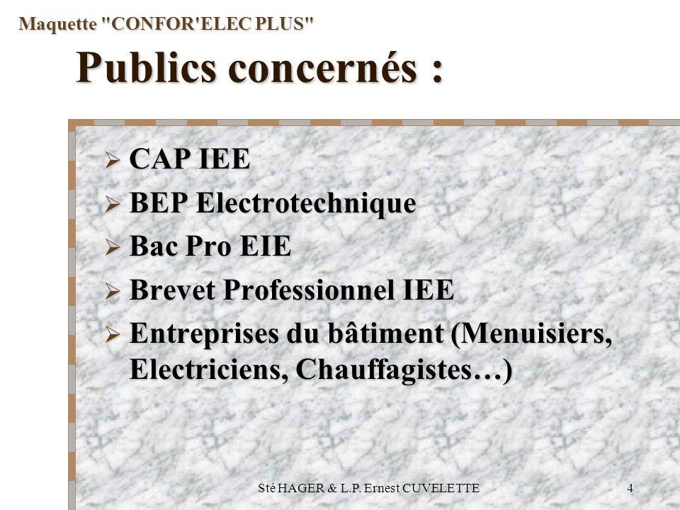 Sté HAGER & L.P. Ernest CUVELETTE4 Publics concernés : CAP IEE CAP IEE BEP Electrotechnique BEP Electrotechnique Bac Pro EIE Bac Pro EIE Brevet Profes