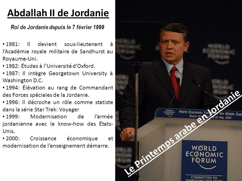 Le Printemps arabe en Jordanie Abdallah II de Jordanie Roi de Jordanie depuis le 7 février 1999 1981: Il devient sous-lieutenant à lAcadémie royale mi