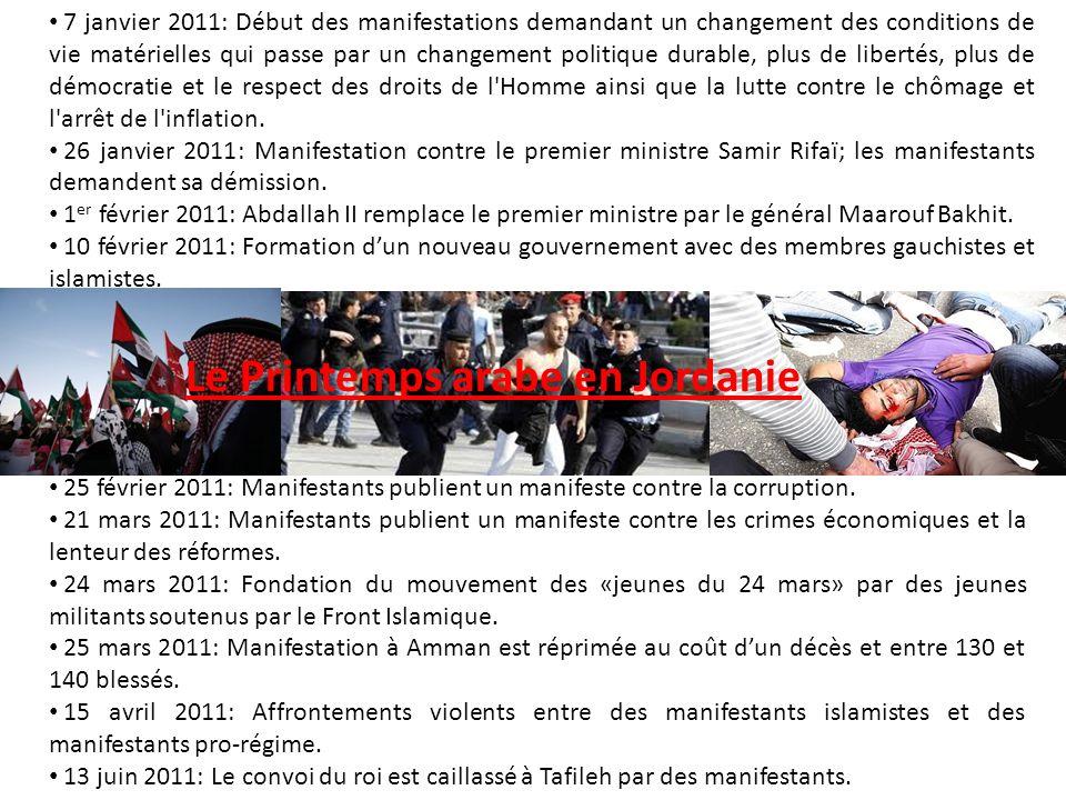 7 janvier 2011: Début des manifestations demandant un changement des conditions de vie matérielles qui passe par un changement politique durable, plus