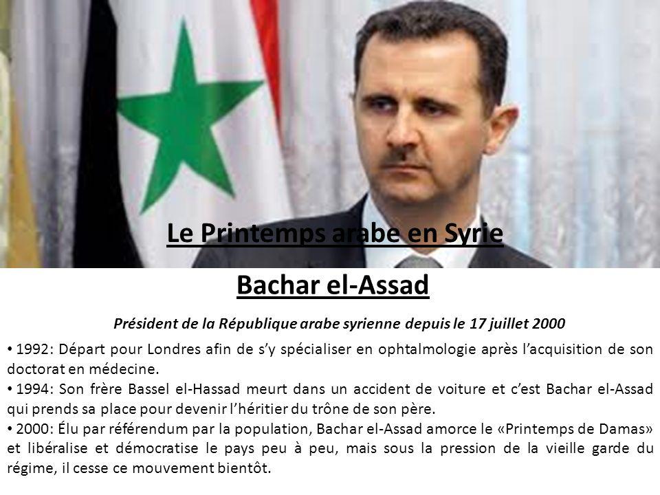 Le Printemps arabe en Syrie Bachar el-Assad Président de la République arabe syrienne depuis le 17 juillet 2000 1992: Départ pour Londres afin de sy s