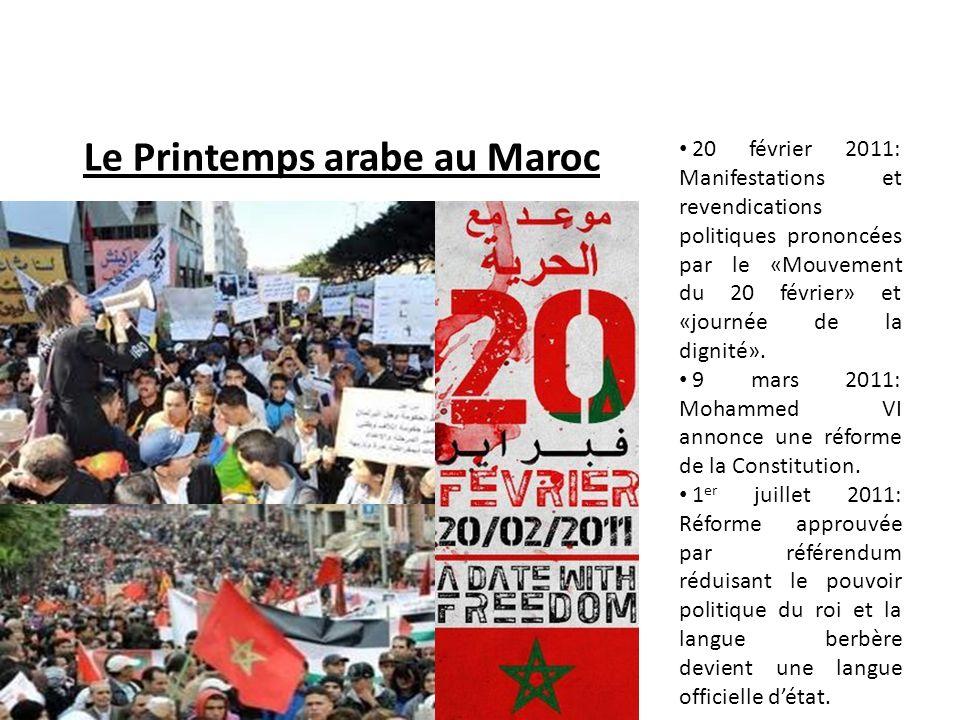 Le Printemps arabe au Maroc 20 février 2011: Manifestations et revendications politiques prononcées par le «Mouvement du 20 février» et «journée de la