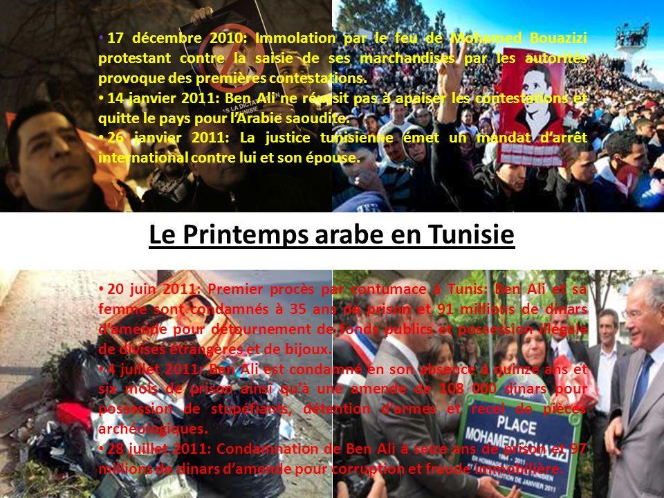 20 juin 2011: Premier procès par contumace à Tunis: Ben Ali et sa femme sont condamnés à 35 ans de prison et 91 millions de dinars damende pour détour