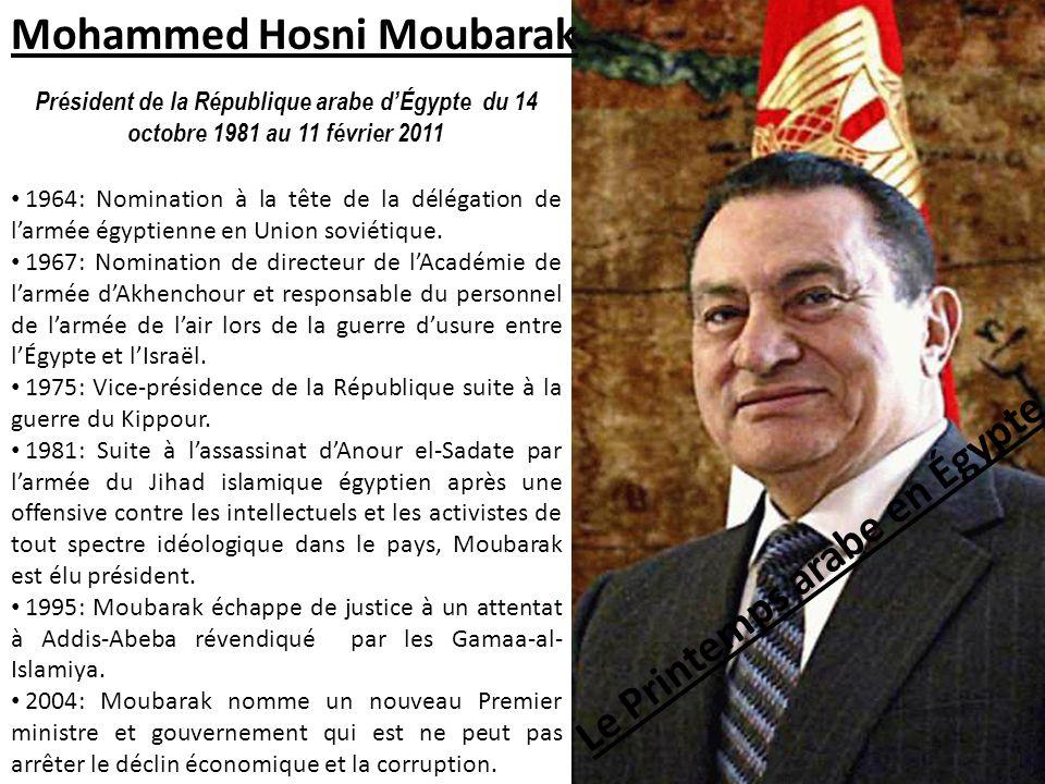 Le Printemps arabe en Égypte Président de la République arabe dÉgypte du 14 octobre 1981 au 11 février 2011 Mohammed Hosni Moubarak 1964: Nomination à