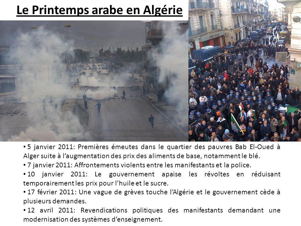 5 janvier 2011: Premières émeutes dans le quartier des pauvres Bab El-Oued à Alger suite à laugmentation des prix des aliments de base, notamment le b