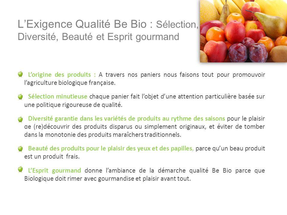 LExigence Qualité Be Bio : Sélection, Diversité, Beauté et Esprit gourmand Lorigine des produits : A travers nos paniers nous faisons tout pour promou