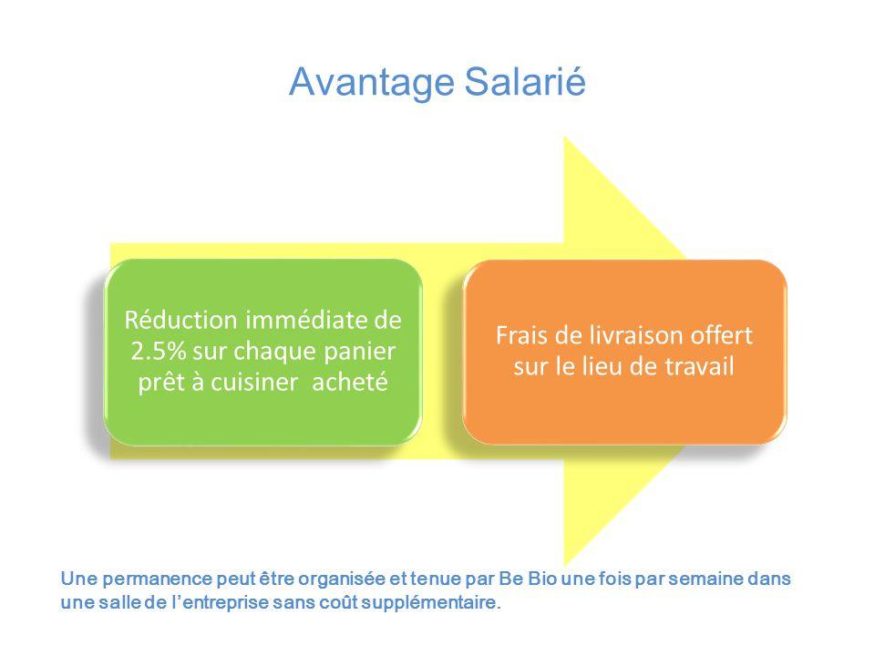 Avantage Salarié Réduction immédiate de 2.5% sur chaque panier prêt à cuisiner acheté Frais de livraison offert sur le lieu de travail Une permanence