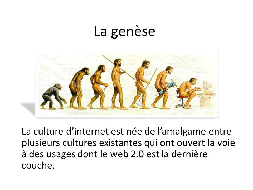 La genèse La culture dinternet est née de lamalgame entre plusieurs cultures existantes qui ont ouvert la voie à des usages dont le web 2.0 est la der