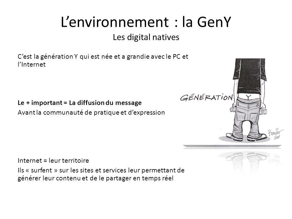 Lenvironnement : la GenY Les digital natives Cest la génération Y qui est née et a grandie avec le PC et lInternet Le + important = La diffusion du me