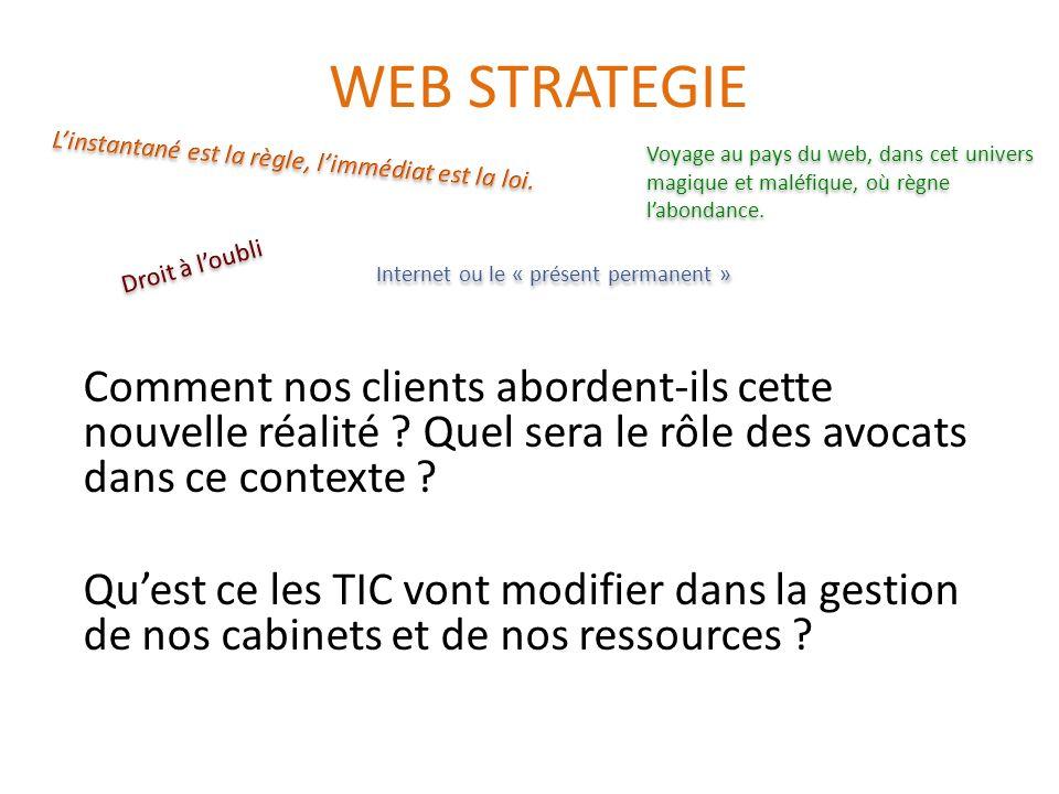 WEB STRATEGIE Comment nos clients abordent-ils cette nouvelle réalité ? Quel sera le rôle des avocats dans ce contexte ? Quest ce les TIC vont modifie